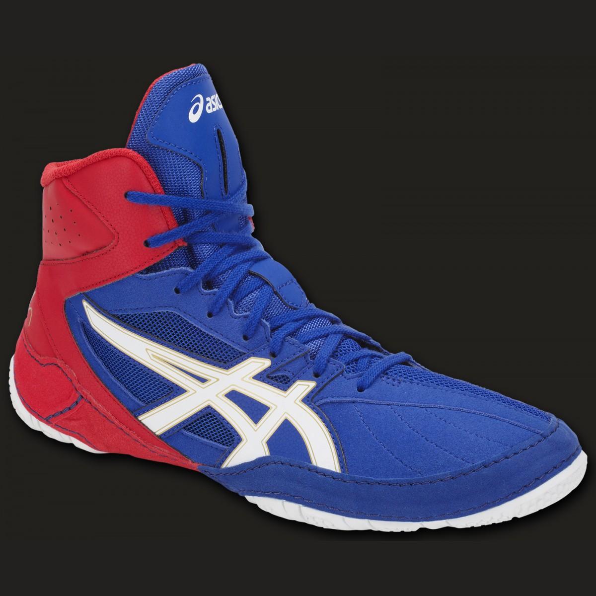 info pour 93079 5480c ASICS chaussure pour la boxe et la lutte Cael V8.0 Bleu/rouge